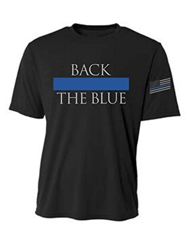 Back Blue Thin Blue Line Flag Sleeve Prt Sup T-Shirt