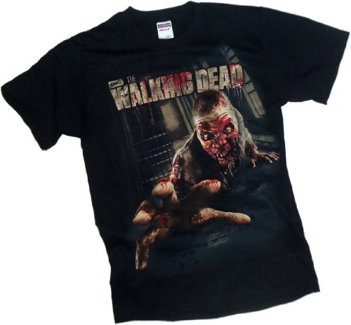 The Walking Dead Dripping Crawler (With 3-D Emboosed Blood Ink) Adult Black T-shirt