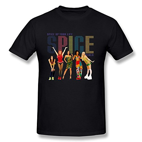 SHMUY Men's Spice Girls Spice Up Your Life Cotton Round Collar T Shirt,Black