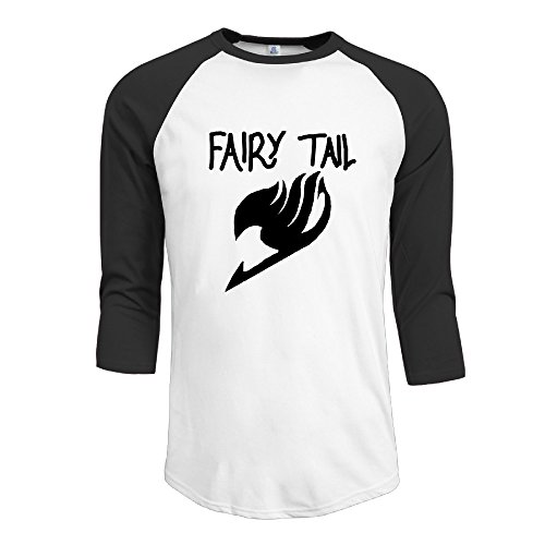 Men's Cotton Unique 3/4 Sleeve Fairy Tail Logo Attempt Athletic Baseball Raglan Sleeves T-Shirt