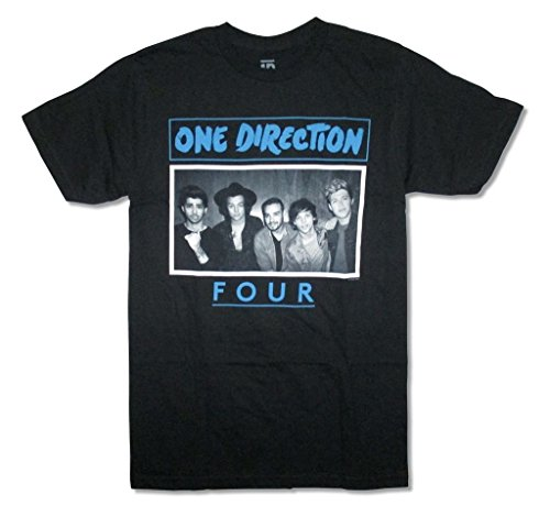 One Direction Four Band Image Adult Black T Shirt