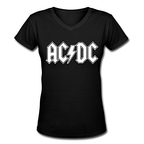 Luckymarch A0402 ACDC English Letter Womens Custom V-Neck T-Shirt