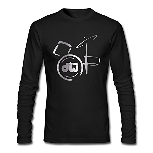 Men's Dw Drum Music Logo Platinum Style Long Sleeve T Shirt-Black