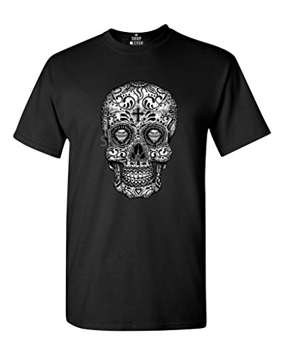 Shop4Ever® Sugar Skull Black & White T-shirt Day of the Dead Shirts