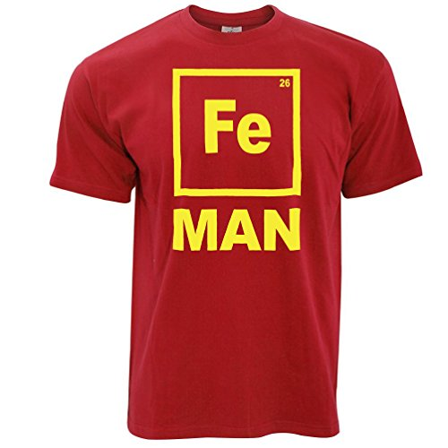 Fe Man Chemistry Periodic Metals Iron Element Mens T-Shirt