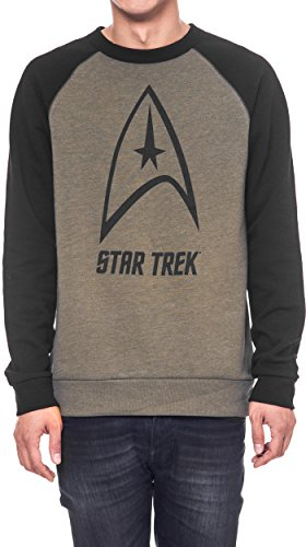 Star Trek Men's Sweatshirt Fleece Black Raglan Sleeves Top Badge Logo Print