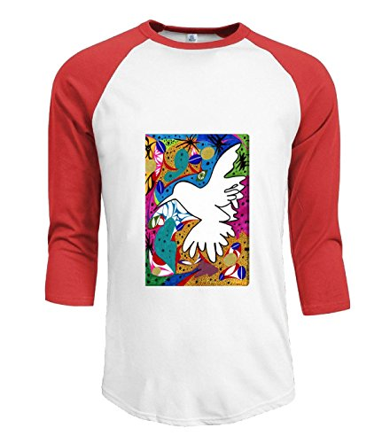 Fatal Decision Men's fashion 3/4 T shirt Hummingbird of Peace Graphic Art on Canvas