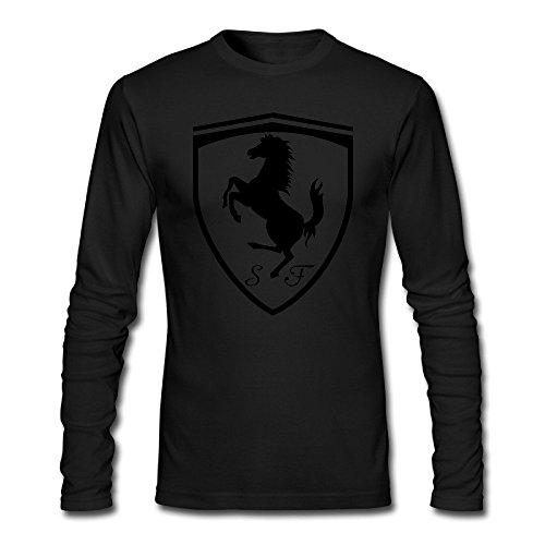 Ferrari Logo Adult Long Sleeve T-Shirt HeatherGray