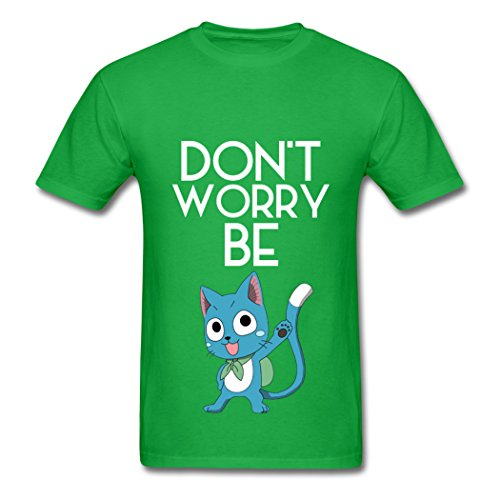 MingSe Custom Design Men's Dont Worry Be Happy Fairy Tail T-Shirts Bright green