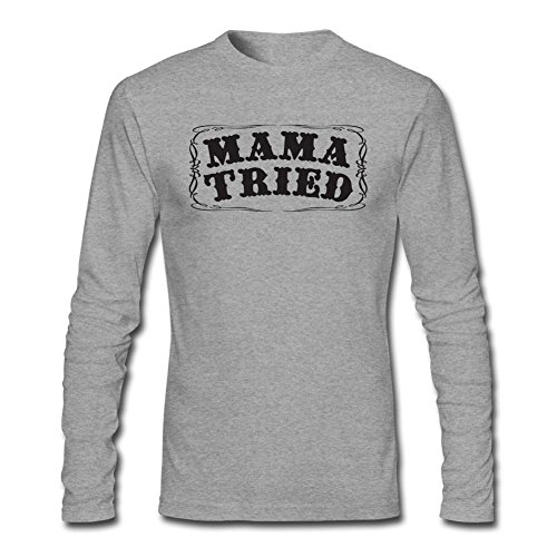 Tommery Men's Mama Tried Sticker Long Sleeve Cotton T Shirt