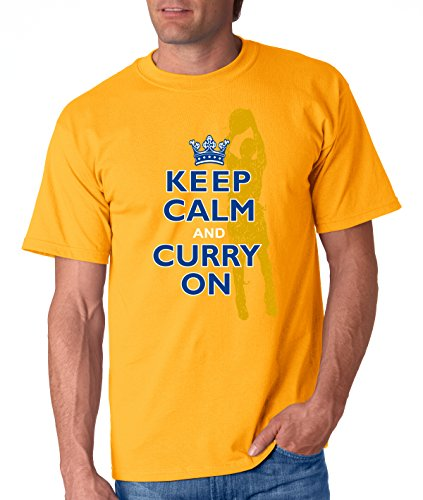 Golden State Basketball Fans. Keep Calm and Curry On. Gold T-Shirt (Adult & Youth)