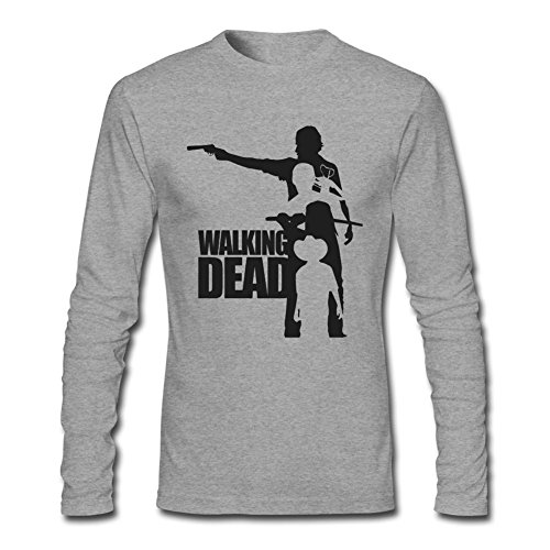REIINO Men's Walking Dead Wall Decal Sticker Long Sleeve T-shirt Grey L