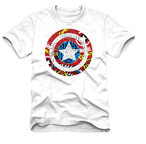 Captain America Marvel Comics Avengers Logo Men's T-shirt (Medium, Captain America Multi-Colored Logo, White)