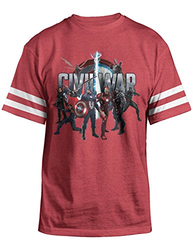 Marvel Captain America Civil War Characters Mens Red Heather T-shirt