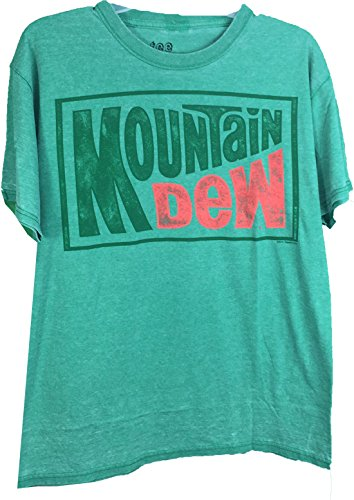 Mountain Dew Classic Distressed Logo Super Soft Heather Green Adult T-Shirt