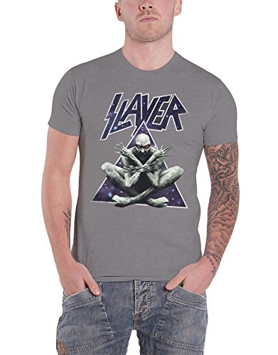 Slayer T Shirt Galaxy Triangle Demon Band Logo Official Mens Grey