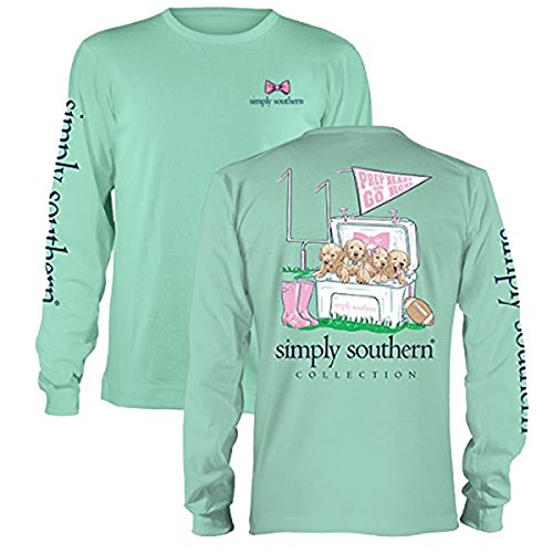 Simply Southern Womans Tee Long T-Shirt Preppy Prep Hard Home Puppy Dog Football