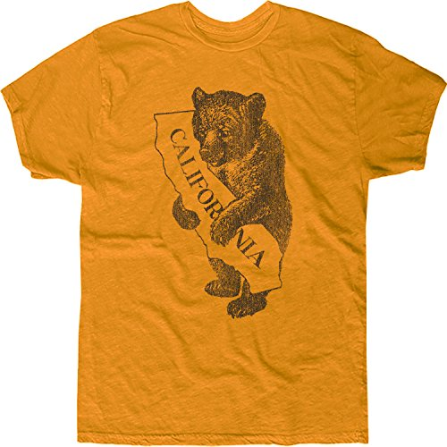 Original Retro Brand Men's California State Bear T-Shirt Medium Yellow