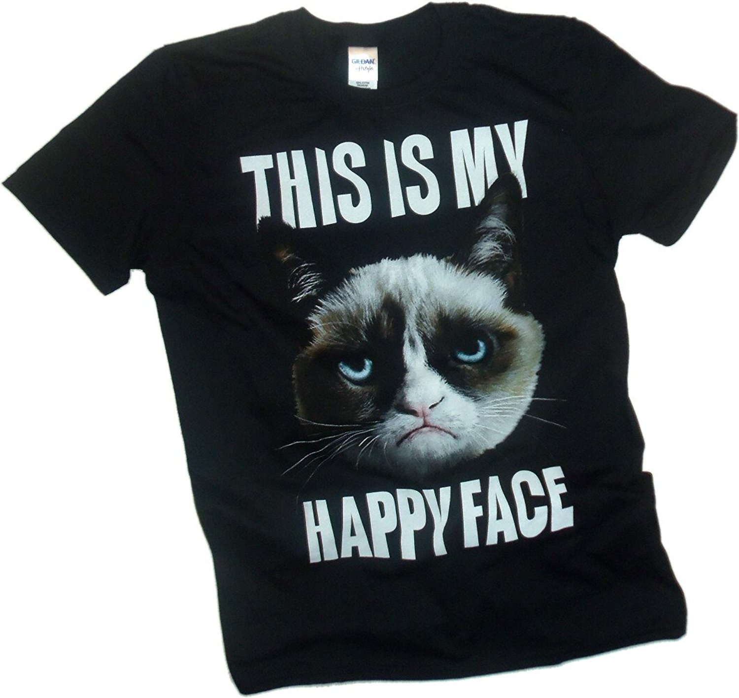 """This Is My Happy Face"" -- Grumpy Cat Adult T-Shirt"