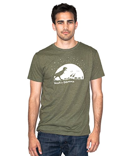 Shirts Green Poly/Cotton Noah's Dilemma Funny Dinosaur T-Shirt