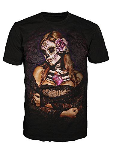 Down Art Cotton Day Of Dead Lace Graphic T-Shirt (Black)