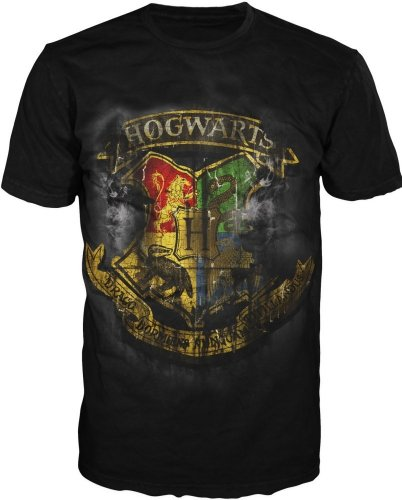Potter Deathly Hollows Distressed Hogwarts Crest T-shirt