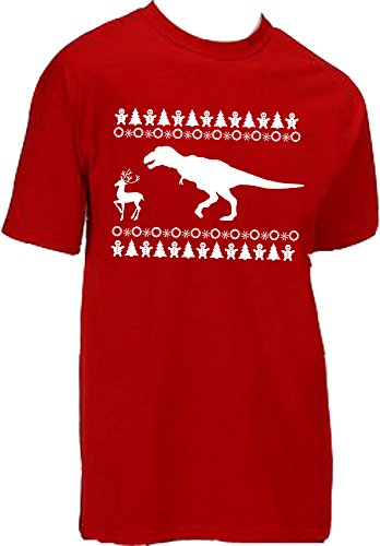 Kingdom Dinosaur Hunting Reindeer Christmas T-Shirt
