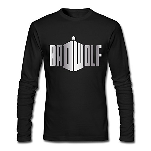 Wolf Doctor Who Platinum Style Long Sleeve T Shirt-Black