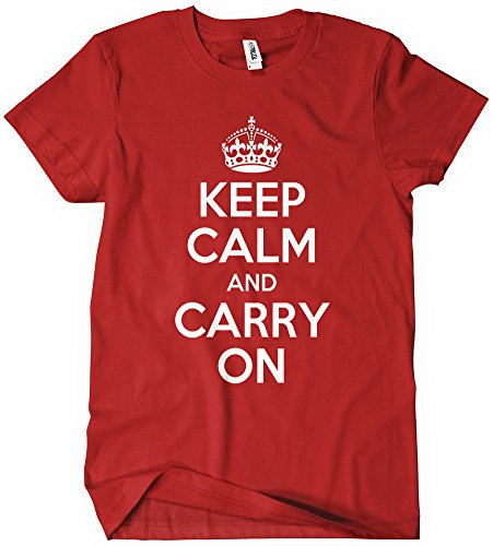 Calm and Carry On T-Shirt Red Tee Green K C British Wwii C O