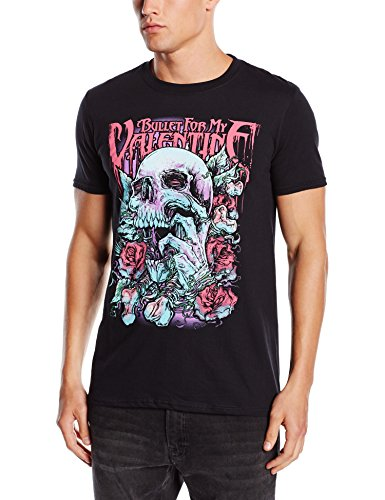 My Valentine T Shirt Black Skull Red Eyes Roses Official