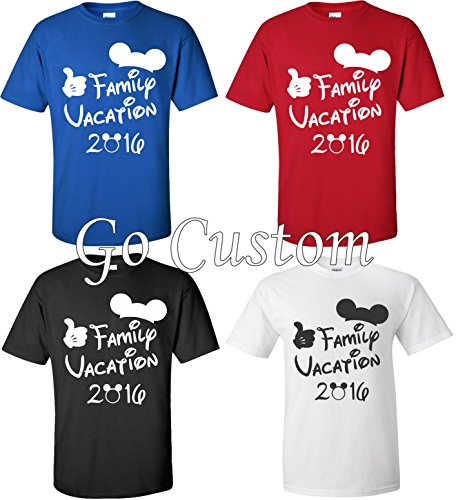Family Vacation T-Shirts Matching Cute Mickey T-Shirts (Red, L)