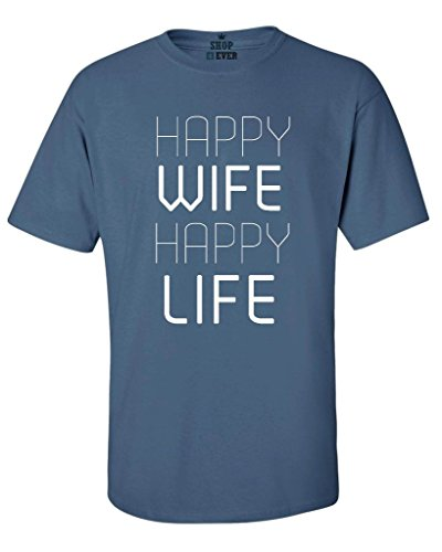 Shop4Ever Happy Wife Happy Life T-shirt Married Couples Shirts