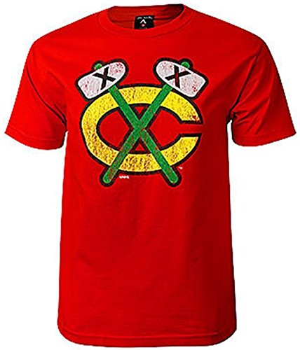 Chicago Blackhawks Red Distressed Tomahawk T-Shirt
