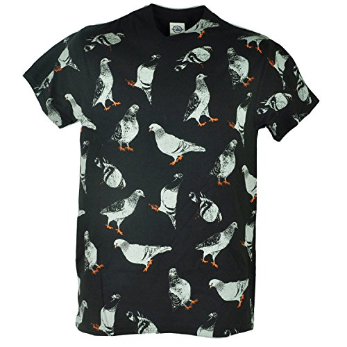 Repetitive Pigeons Birds Animal Graphic Distressed Adult Black Tshirt Tee