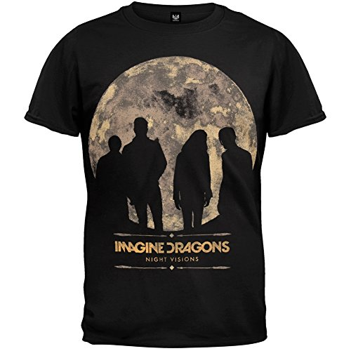 "Adult Imagine Dragons ""Night Visions Tour 2013 (Charlotte-Vegas)"" Black T-Shirt"